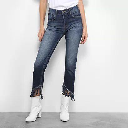 Calça Jeans Forum Marisa Cropped Desfiada Feminina - Feminino-Jeans