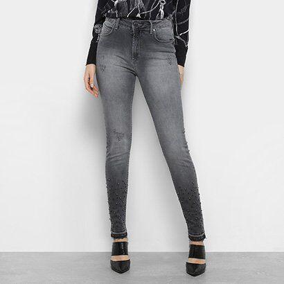 Calça Jeans Forum Marisa Skinny Bordado Feminina - Feminino-Preto
