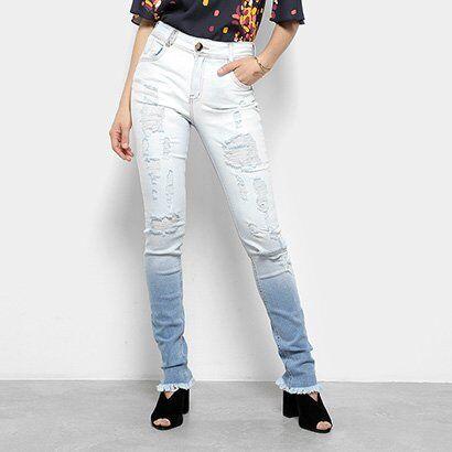 Calça Jeans Skinny Destroyed Dimy Cintura Alta Feminina - Feminino-Azul