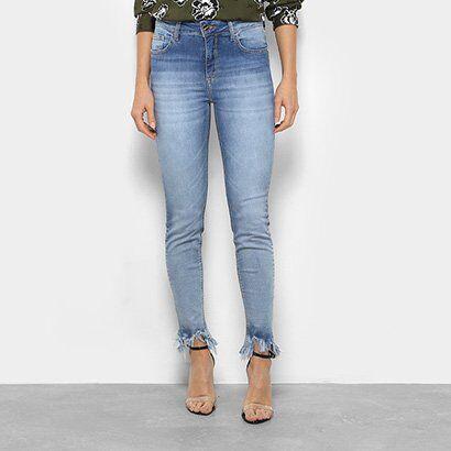 Calça Jeans Skinny Forum Marisa Barra Desfiada Cintura Média Feminina - Feminino-Azul