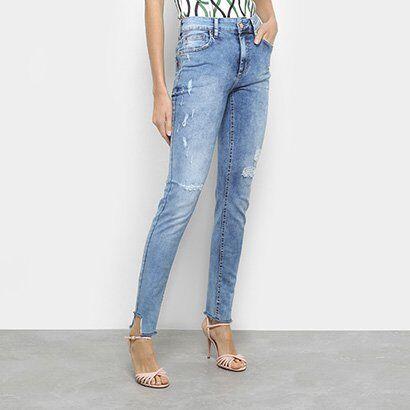 Calça Jeans Skinny Fórum Marisa Cintura Média Feminina - Feminino-Azul
