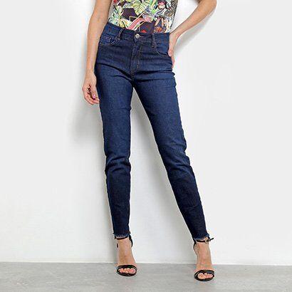 Calça Jeans Skinny Forum Marisa com Franja Feminina - Feminino-Jeans