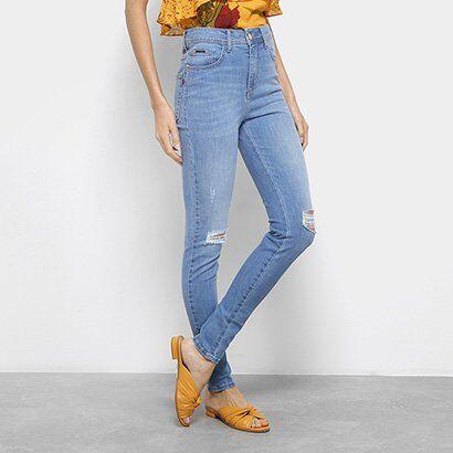 Calça Jeans Skinny Forum Marisa Rasgos Cintura Média Feminina - Feminino-Azul Claro