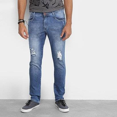Calça Jeans Skinny Local Amassados 3D Destroyed Masculina - Masculino-Azul