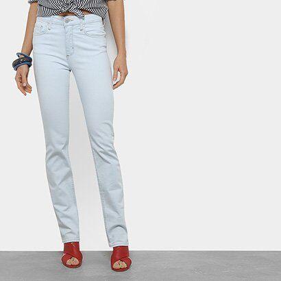 Calça Jeans Slim Forum Marisa Cintura Média Feminina - Feminino-Azul Claro