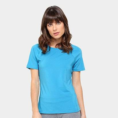 Camiseta Adidas D2M Solid Feminina - Feminino-Azul Turquesa