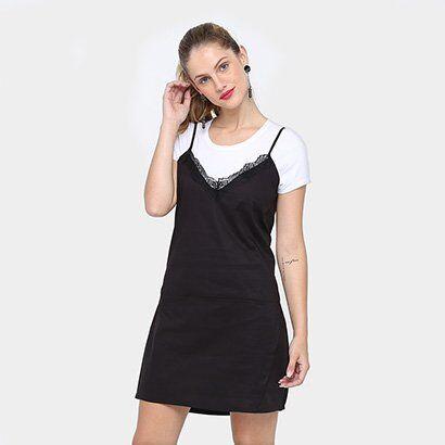 Vestido Colcci Curto Sleep Dress Sobreposto - Feminino-Preto