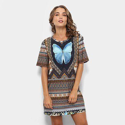 Vestido Farm T-Shirt Segredo  - Feminino-Azul+Caramelo