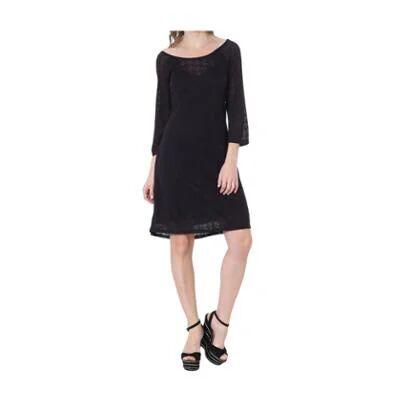 Vestido Moché Devore Mg 3/4 - Feminino-Preto