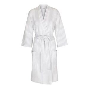 Carebyme Kimono / Badekåbe Model Kathrine, 100% Økologisk Bomuld, Lys Grå / Hvidstribet