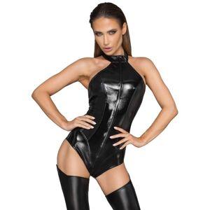 Noir Wet-Look Bodystocking S