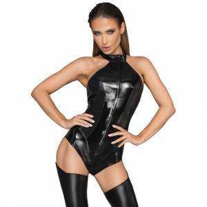 Noir Wet-Look Bodystocking Xl