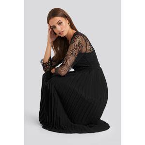 NA-KD Party Contrast Lace Midi Dress - Black