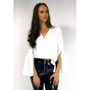 Belle Cropped Wrap Tie Blouse In White