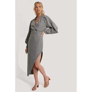 NA-KD Classic Maxi Tailored Asymmetric Skirt - Grey  - Size: EU 32,EU 34,EU 36,EU 38,EU 40,EU 42,EU 44,EU 46