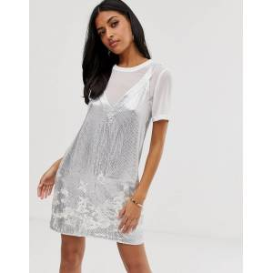 French Connection Ello embellished dress with t-shirt underlayer - Winter white/silver