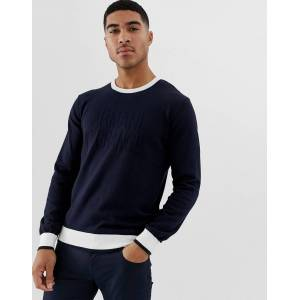 Armani Exchange logo contrast neck knitted jumper in navy - Navy