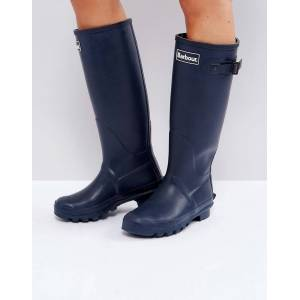 Barbour Bede classic welly boot with tartan lining - Navy