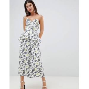 e6e3c4bc9e Asos DESIGN structured bandeau jumpsuit with frill overlay in floral print  - Printed floral