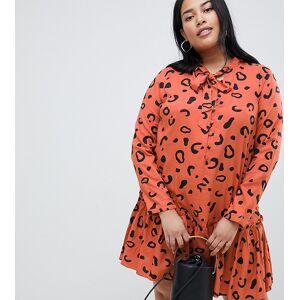 3aaa8c2ae07b Asos DESIGN Curve button front tie neck mini smock dress in rust leopard -  Multi