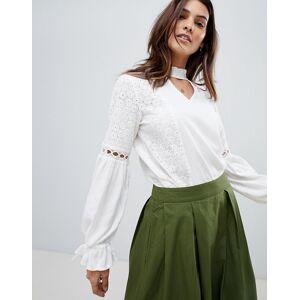 Vila Crochet sleeve detail top - White