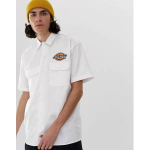Dickies Clintondale shirt with badge detail in white - White