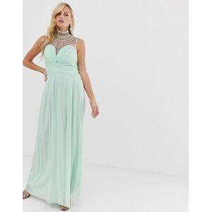 95d48a5a844e Little Mistress high neck lace detail sweatheart maxi dress - Light green