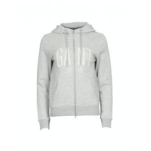 GANT Logo Full Zip Hoodie - Light Grey Melange