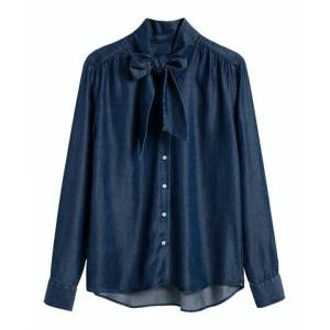 GANT Chambray Bow Blouse - Dark Indigo