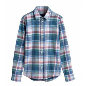 GANT Winter Twill Madras Check Shirt - Mid Blue