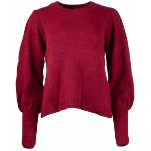 NA-KD Puff Sleeve Wide Rib Knitted Sweater - Bordeaux