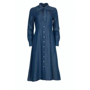 GANT Chambray Bow Shirt Dress - Dark Indigo
