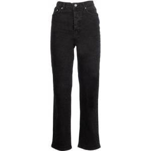 NA-KD Straight High Waist Jeans - Black