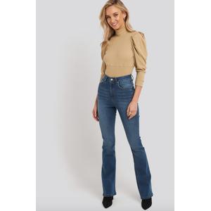 NA-KD Skinny Bootcut Jeans - Mid Blue