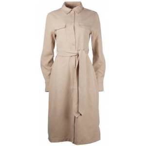 NA-KD Belted Long Shirt Dress - Sand