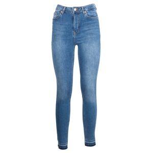 NA-KD Skinny High Waist Open Hem Jeans - Mid Blue