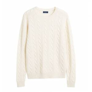 GANT Lambswool Cable Crew - Cream
