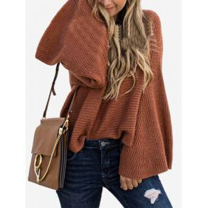 Newchic Chic Solid Color Bell Sleeve Crew Neck Sweater
