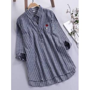 f50955f3 Newchic Embroidery Rose Striped Long Sleeve Turn-down Collar Shirts
