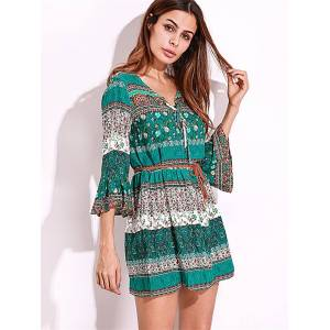 Newchic Bohemian Women Flounce Bell Sleeve Floral Printed V-neck Mini Dresses