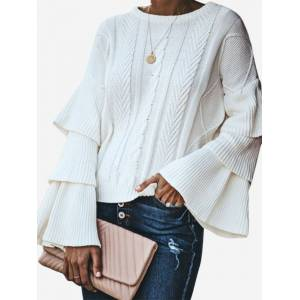 Newchic Casual Crew Neck Layer Bell Sleeve Sweater