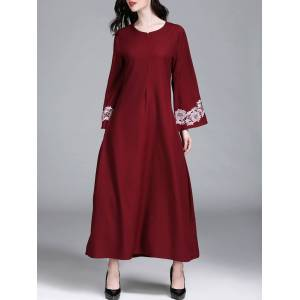 Newchic Solid Color Floral Bell Sleeve O-neck Maxi Dress