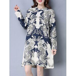 8885fd68d81 Newchic Folk Style Print Frog Button Long Sleeve Stand Collar Women Dresses