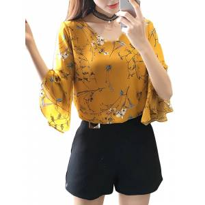 Newchic Chiffon Floral Printed V-neck Bell Sleeve Blouses