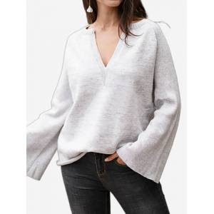 Newchic Casual Solid Color Bell Sleeve V-neck Sweater