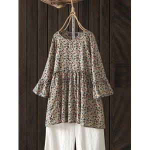 Newchic Vintage Print Floral 3/4 Bell Sleeve Long Blouse