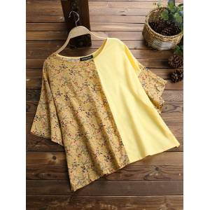 Newchic Print Floral Patchwork Casual Loose Bell Sleeve T-Shirt