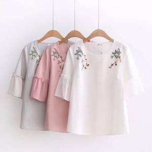 Newchic Embroidery Printed Bell sleeve O-neck Short Sleeve T-shirts