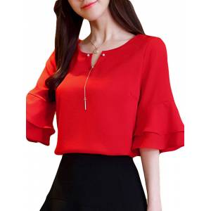 Newchic Chiffon Solid Color Bell Sleeve O-neck T-shirt