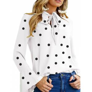 Newchic Women Polka Dot Bell Sleeve Lace-Up Blouse
